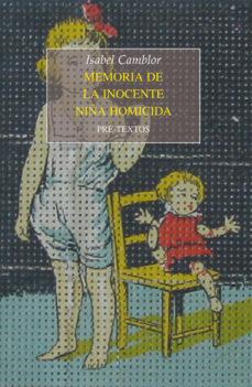 Portada de Memoria De La Inocente Niña Homicida