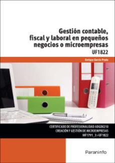 Portada de Uf1822 Gestion Contable, Fiscal Y Laboral En Pequeños Negocios O Microempresas