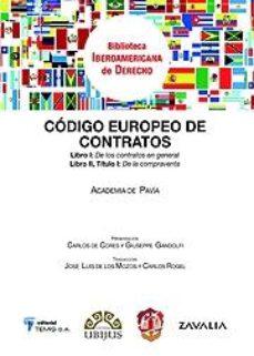 Portada de Codigo Europeo De Contratos De La Academia De Pavia