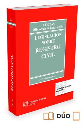 Portada de Legislacion Sobre Registro Civil (31ª Ed.)