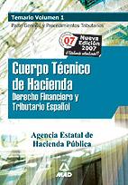 Portada de Cuerpo Tecnico De Hacienda, Agencia Estatal De Administracion Tri Butaria. Temario Vol I
