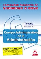 Portada de Cuerpo Adiministrativo De La Administracion De La Comunidad Auton Oma De Castilla Y Leon. Temario. Volumen Iii