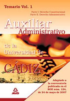 Portada de Escala Auxiliar Administrativa De La Universidad De Cadiz. Temari O (vol. I)