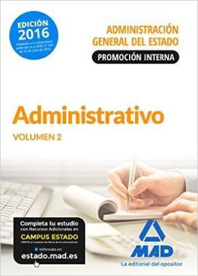 Portada de Administrativo De La Administracion General Del Estado (promocion Interna). Temario Volumen 2