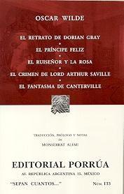 Portada de El Retrato De Dorian Gray; El Principe Feliz; El Ruiseñor Y La Ro Sa; El Crimen De Lord Arthur Savill; El Fantasma De Canterville